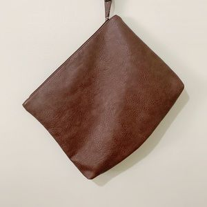 Free People Oversized Brown Zipper Clutch Pouch
